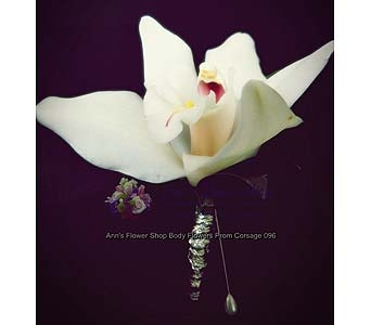 White Cymbidium Orchid Boutonniere in Auburn ME, Ann's Flower Shop