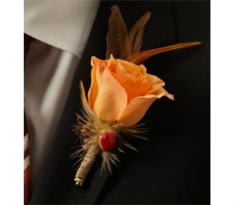 Orange rose boutonniere in Orinda CA, Misaghi Design Orinda Florist
