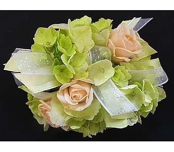 Light Green Hydrangea and Peach Spray Rose Corsage in Mesa AZ, Watson Flower Shops