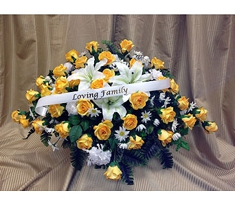Silk Casket Spray -Yellow & White in Timmins ON, Timmins Flower Shop Inc.
