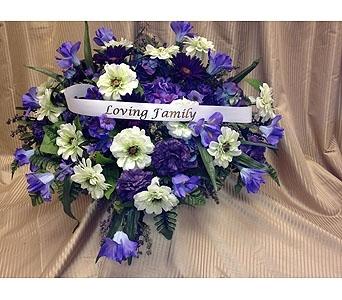 Silk casket spray purple white in timmins on timmins flower shop silk casket spray purple white in timmins on timmins flower shop mightylinksfo