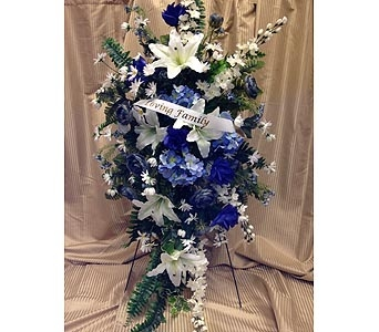 Silk Standing Spray-Blue & White 6 in Timmins ON, Timmins Flower Shop Inc.
