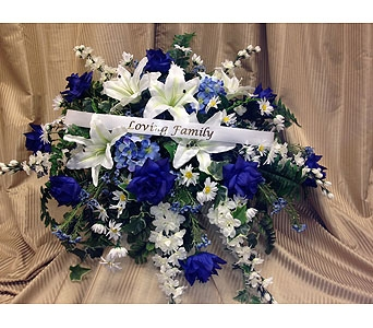 Silk Casket Spray -Blue & Whites in Timmins ON, Timmins Flower Shop Inc.