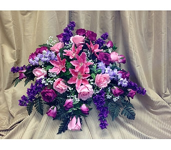 Silk Casket Spray-Purple & Pinks in Timmins ON, Timmins Flower Shop Inc.