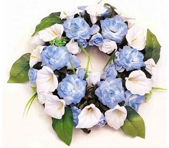 Silk wreath light blue white in timmins on timmins flower shop silk wreath light blue white in timmins on timmins flower shop mightylinksfo