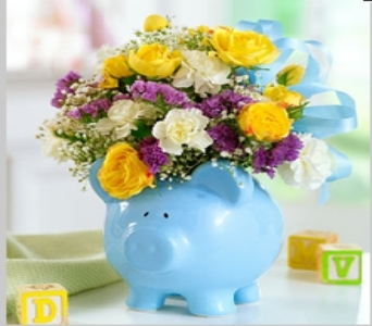 It's A Boy Piggy Bank in Kingston NY, Flowers by Maria