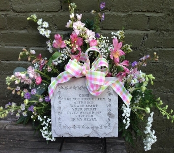 Funeral Stone With Fresh Flowers in Ambridge PA, Heritage Floral Shoppe