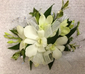 Prom Corsage- White Dendrobium Orchids in Newton NC, Newton Florist