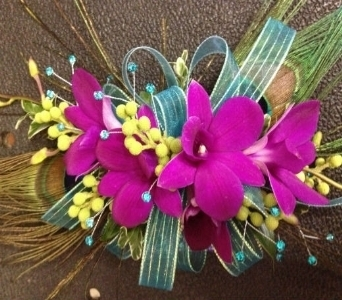 Prom Corsage- Purple Dendrobium Orchids & Feathers in Newton NC, Newton Florist