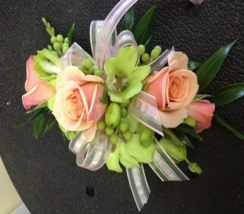 Prom Corsage- Peach Roses & Green Orchids in Newton NC, Newton Florist