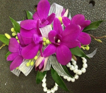 Prom Corsage- Purple Orchids on Pearl Bracelet in Newton NC, Newton Florist