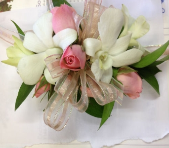 Prom Corsage- White Dendrobiums & Pink Roses in Newton NC, Newton Florist