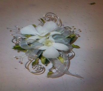 Prom Corsage- White Dendrobiums With Accents in Newton NC, Newton Florist