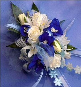 Royal & White Corsage in Kennett Square PA, Barber's Florist Of Kennett Square