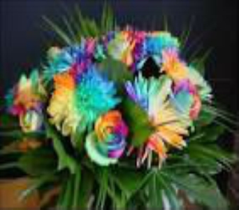 tiedye arrangment in Bismarck ND, Dutch Mill Florist, Inc.