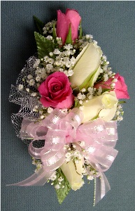 Pink & White Corsage in Kennett Square PA, Barber's Florist Of Kennett Square