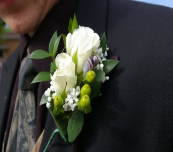 Camo Accented Boutonniere in Bethany OK, Ann's Secret Garden