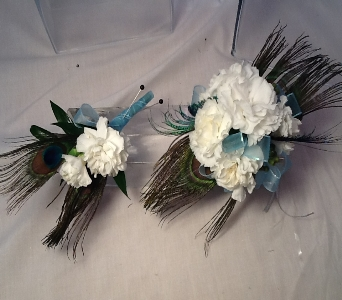 White Carnations with Peacock  Feathers Set in Greenville SC, Expressions Unlimited