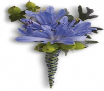 Blue Boutonniere in Bethany OK, Ann's Secret Garden