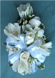 White Rose & Lily Corsage in Kennett Square PA, Barber's Florist Of Kennett Square