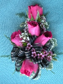 Hot Pink & Black Corsage in Kennett Square PA, Barber's Florist Of Kennett Square