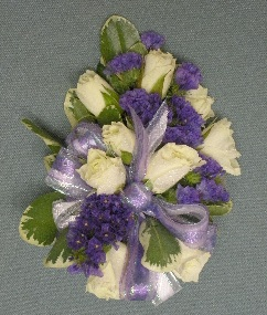 White Rose & Purple Corsage in Kennett Square PA, Barber's Florist Of Kennett Square