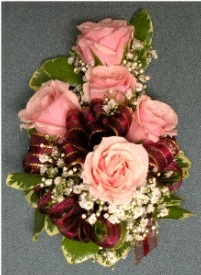 Pink & Burgundy Corsage in Kennett Square PA, Barber's Florist Of Kennett Square