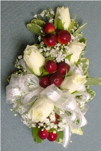 White Rose & Berries Corsage in Kennett Square PA, Barber's Florist Of Kennett Square
