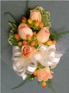 Peach Rose Corsage in Kennett Square PA, Barber's Florist Of Kennett Square