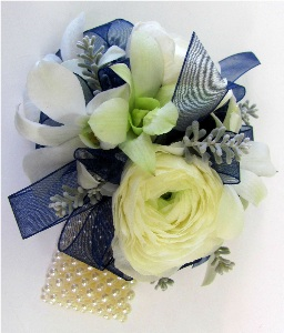 Blue & White Corsage in Kennett Square PA, Barber's Florist Of Kennett Square