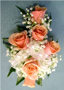 Peach & White Corsage in Kennett Square PA, Barber's Florist Of Kennett Square