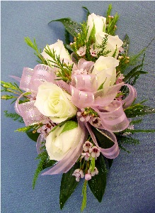 White & Light Pink Corsage in Kennett Square PA, Barber's Florist Of Kennett Square