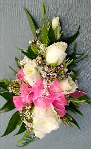 White & Hot Pink Corsage in Kennett Square PA, Barber's Florist Of Kennett Square