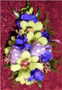 Chartreuse & Royal Corsage in Kennett Square PA, Barber's Florist Of Kennett Square