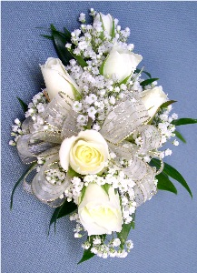White & Gold Corsage in Kennett Square PA, Barber's Florist Of Kennett Square