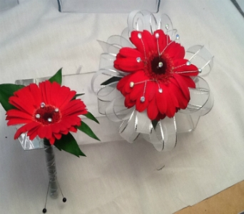 Red Gerber Daisy Corsage and Boutonni�re Set in Greenville SC, Expressions Unlimited