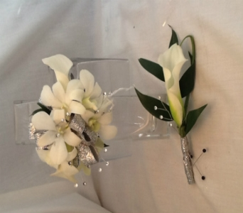 White Corsage and Boutonni�re Set in Greenville SC, Expressions Unlimited