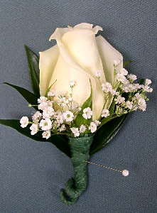 White Rose Boutonniere in Kennett Square PA, Barber's Florist Of Kennett Square