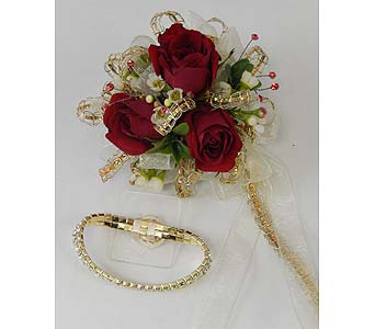 Red Sweetheart Rose Wrist Corsage in Bloomington IL, Forget Me Not Flowers