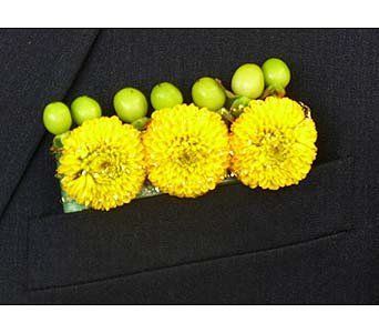 Yellow Button Pom Suit Pocket Board in Mesa AZ, Watson Flower Shops