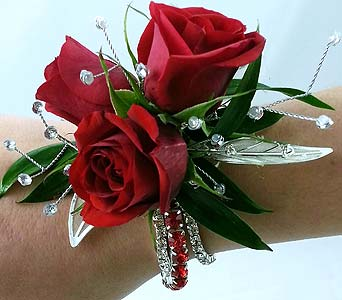 Classy in Red Corsage in Raleigh NC, North Raleigh Florist