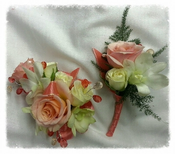 Peaches and Cream Corsage in Greenfield IN, Penny's Florist Shop, Inc.
