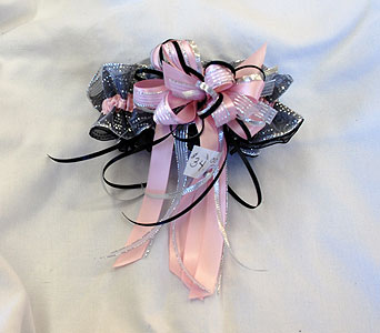 Hand made black silver and light pink garter in Hales Corners WI, Barb's Green House Florist