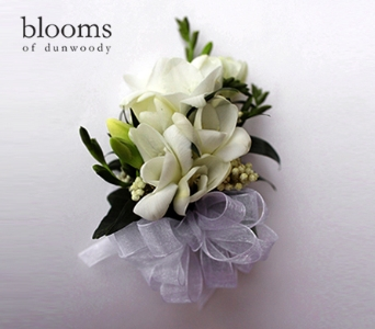 White Freesia Corsage in Dunwoody GA, Blooms of Dunwoody