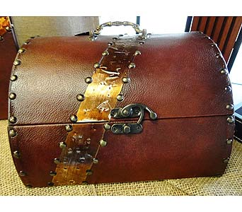 Copper & Leather Treasure Chest Box in Tampa FL, Buds, Blooms & Beyond
