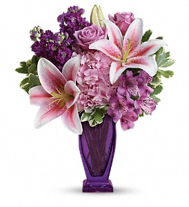 Teleflora's Blushing Violet Bouquet in Boerne TX, An Empty Vase