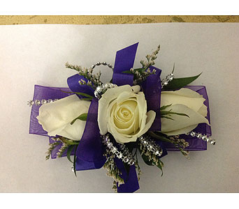 Corsage with Purple Ribbon & White Roses in Modesto CA, Flowers By Alis
