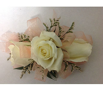 Corsage with light Peach  Ribbon & White Roses in Modesto CA, Flowers By Alis