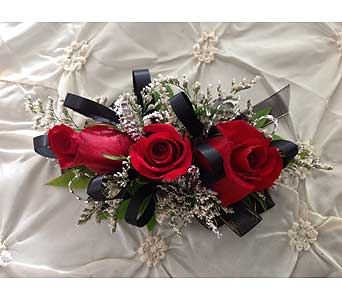 Black Ribon with Red Roses Corsage in Modesto CA, Flowers By Alis