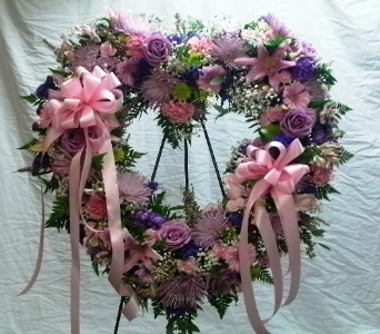 Pink and Lavender Open Heart in Rocky Point NY, Flowers on Broadway